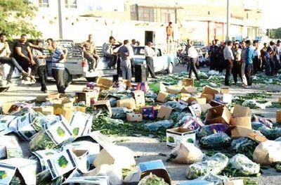 کشاورزان اصفهانی بارهای خیار را به خیابان ریختند