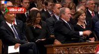لحظه تعارف آب نبات جورج بوش به میشل اوباما +فیلم